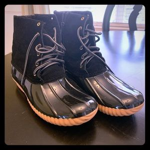 Black Patent Leather & Suede Rain Boots